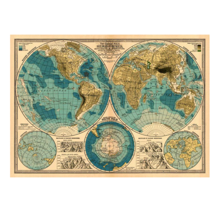 vintage kort - Jordkloden
